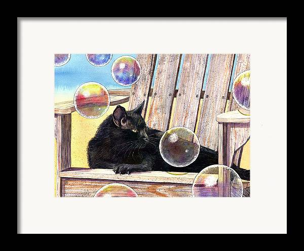 Cat Framed Print featuring the painting Basking In Bubbles by Catherine G McElroy