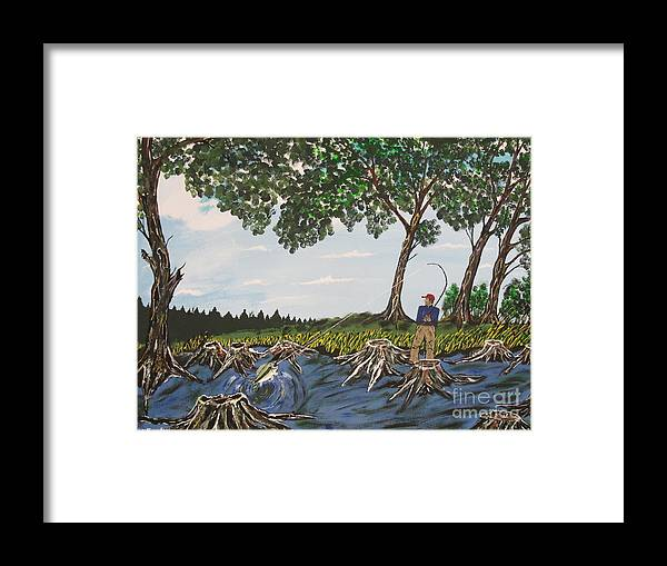 Framed Print featuring the painting Bass Fishing In The Stumps by Jeffrey Koss
