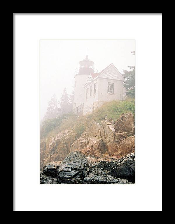 Lighthouse Framed Print featuring the photograph Bass Harbor In Fog - Vertical by IMH Photog