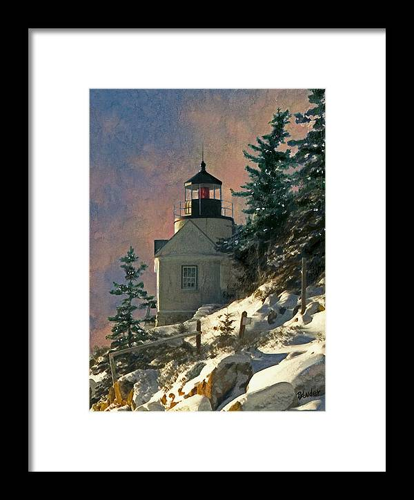 Bass Harbor Framed Print featuring the painting Bass Harbor Light In A Winter Storm by Brent Ander