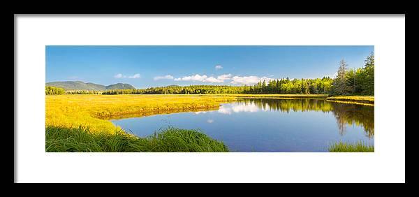 Bass Harbor Marsh Framed Print featuring the photograph Bass Harbor Marsh Panorama Acadia National Park Photograph by Keith Webber Jr