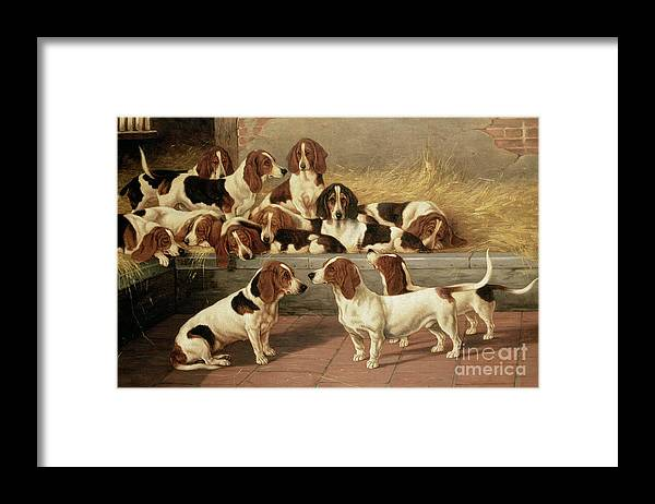 Dog Framed Print featuring the painting Basset Hounds In A Kennel by VT Garland