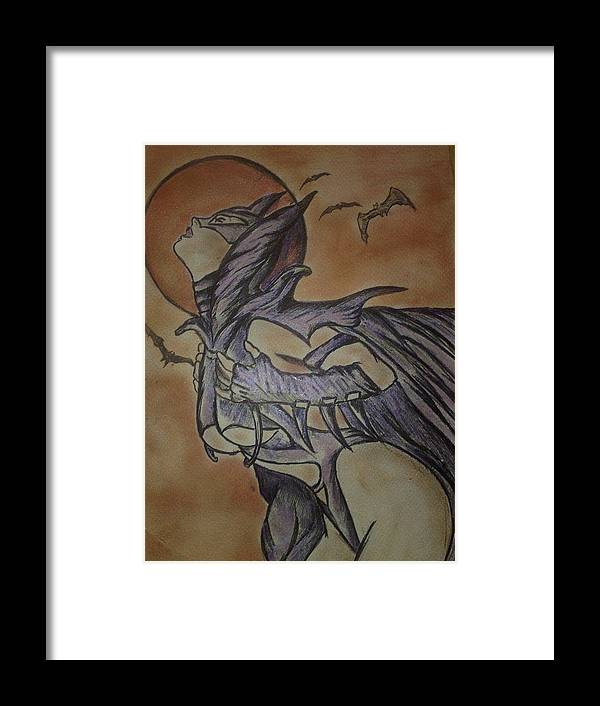 Batgirl Framed Print featuring the drawing Batgirl by Giuseppe Amodeo