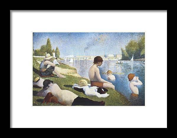 George-pierre Seurat Framed Print featuring the painting Bathing At Asnieres by George-Pierre Seurat