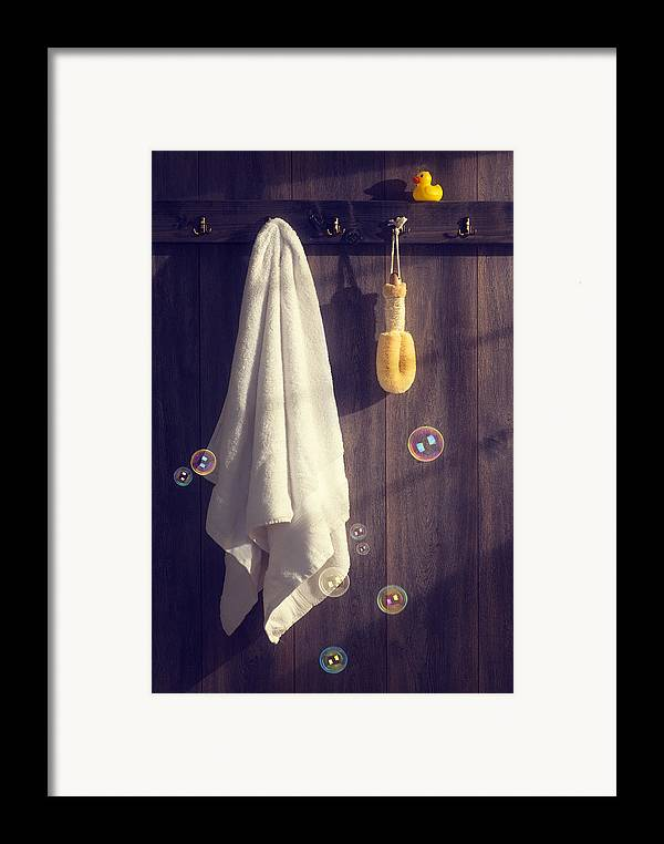 White Framed Print featuring the photograph Bathroom Towel by Amanda Elwell
