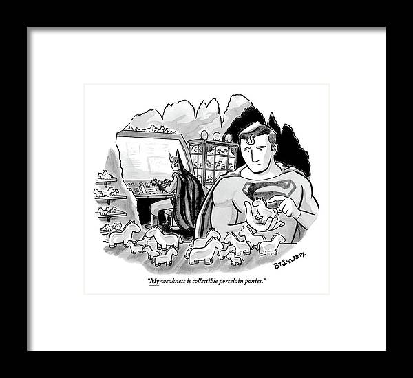 Batman And Superman In Batcave Looking At Small Framed Print By