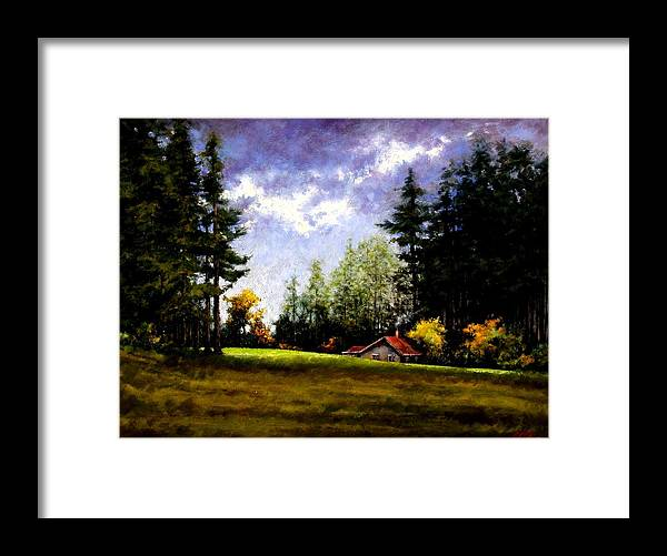 Landscape Framed Print featuring the painting Battle Ground Park by Jim Gola