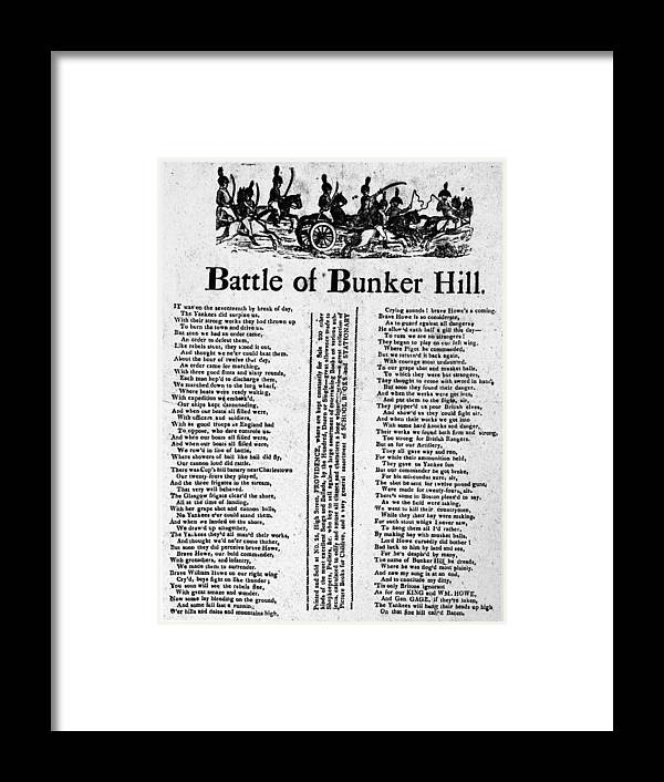 1775 Framed Print featuring the photograph Battle Of Bunker Hill by Granger