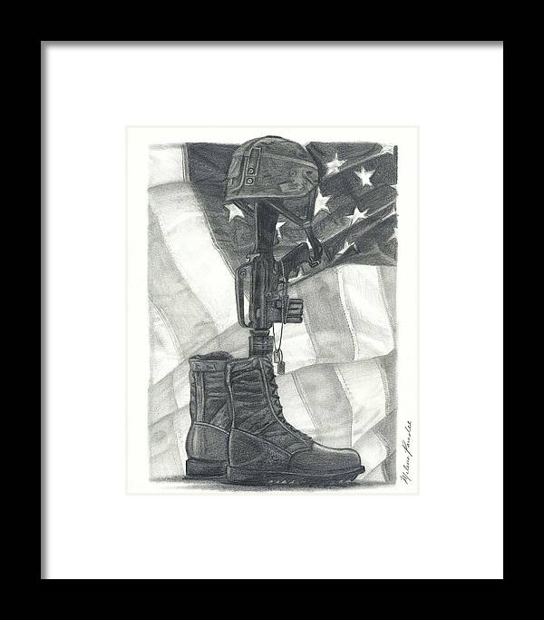 Military Framed Print featuring the drawing Battlefield Cross by Melena Paradee
