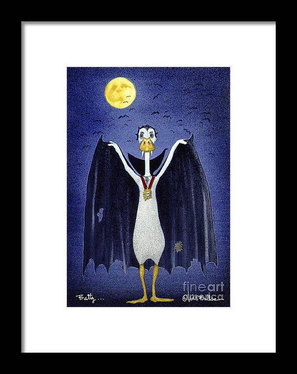 Will Bullas Framed Print featuring the painting Batty ... by Will Bullas
