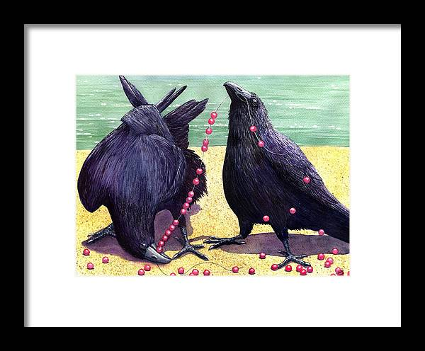 Raven Framed Print featuring the painting Baubles by Catherine G McElroy