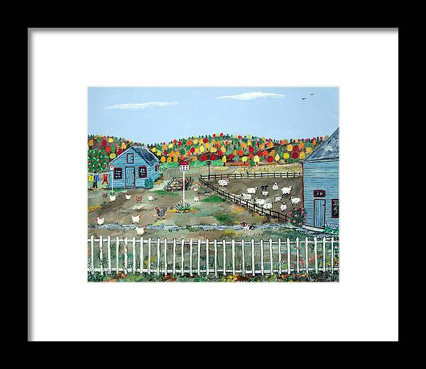 Farm Framed Print featuring the painting Baxter And Friends by Sandie Keyser