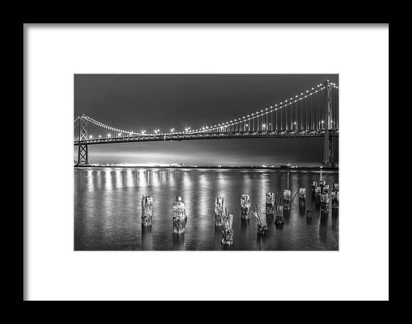 California Framed Print featuring the photograph Bay Bridge Black And White by Robert Aycock