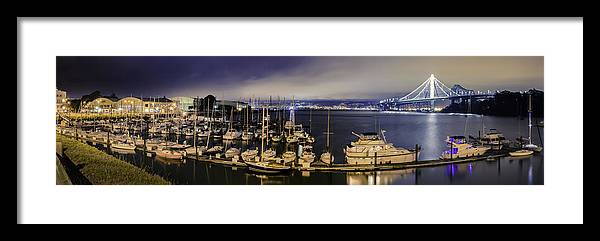 Yachts Framed Print featuring the photograph Bay Bridge East Span With Yachts by Jerome Obille