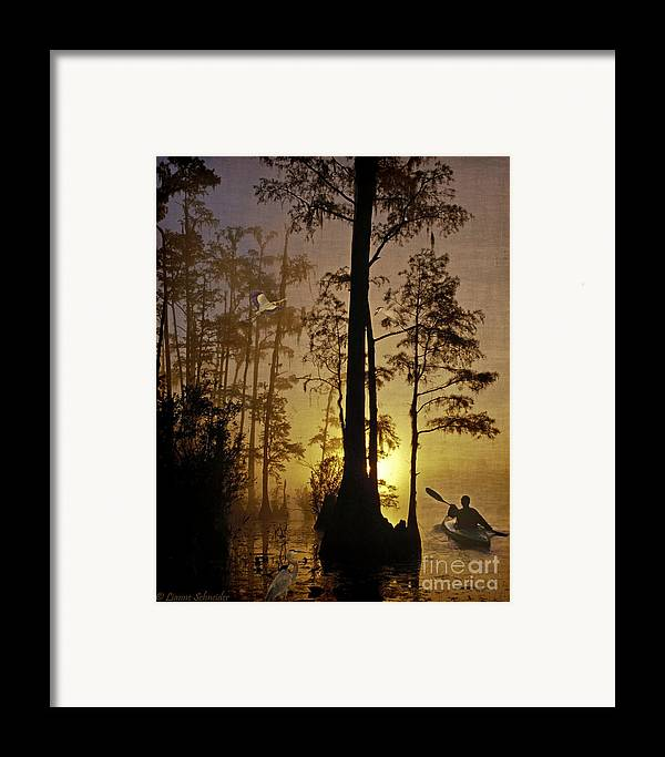 Bayou Framed Print featuring the digital art Bayou Sunrise by Lianne Schneider