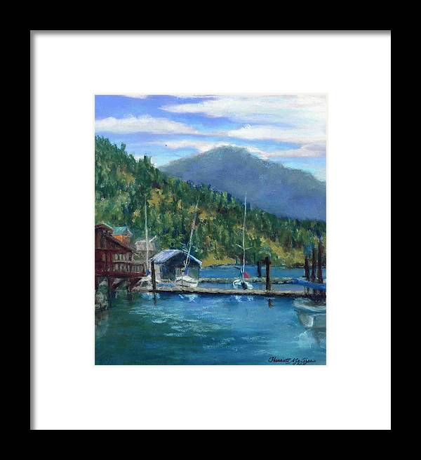 Plein Aire Painting Framed Print featuring the painting Bayview Marina by Harriett Masterson