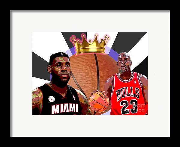 Michael Jordan Framed Print featuring the digital art Bball Kings by Michael Chatman