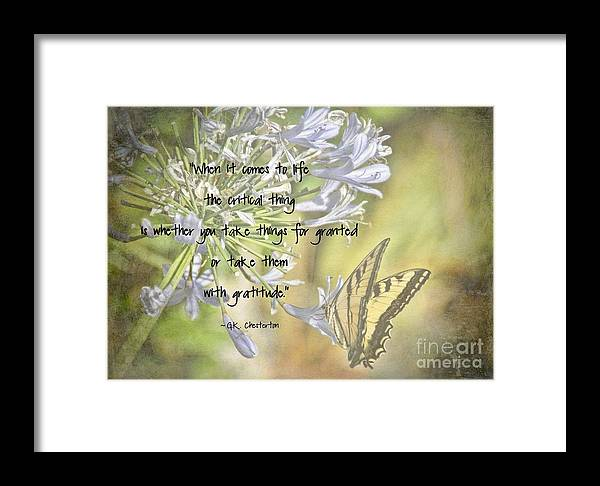 Gratitude Framed Print featuring the photograph Be Grateful by Peggy Hughes