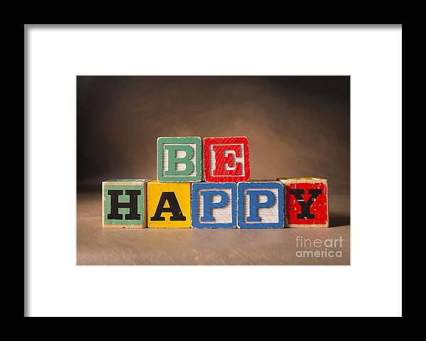 Be Happy Framed Print featuring the photograph Be Happy - JabberBlocks by Art Whitton
