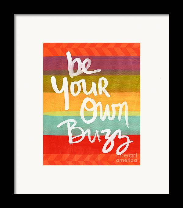 Stripes Framed Print featuring the painting Be Your Own Buzz by Linda Woods
