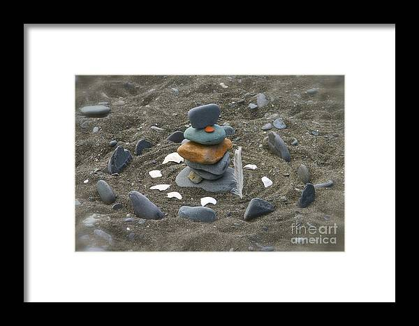 Rock Framed Print featuring the photograph Beach Art by Rick Monyahan
