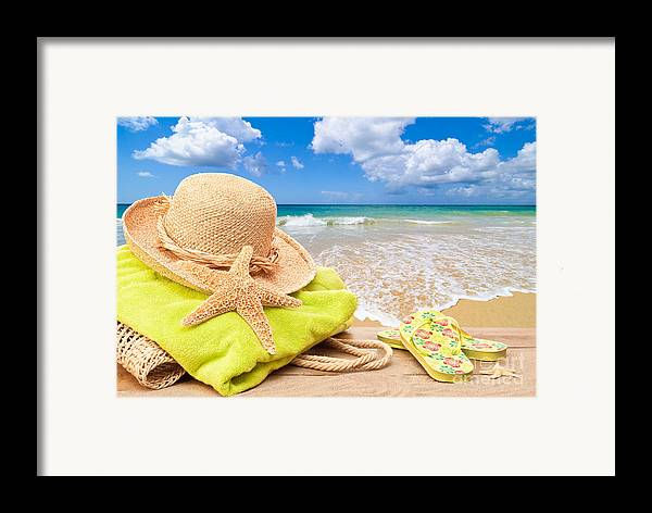Summer Framed Print featuring the photograph Beach Bag With Sun Hat by Amanda Elwell