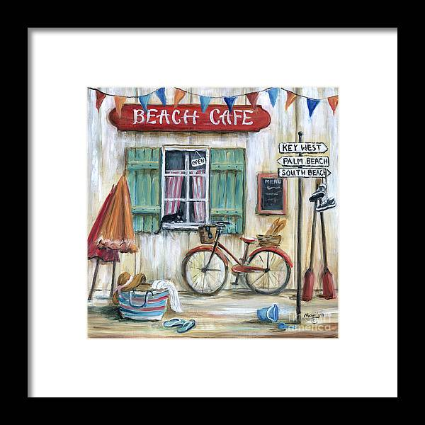 Beach Cafe Framed Print featuring the painting Beach Cafe by Marilyn Dunlap