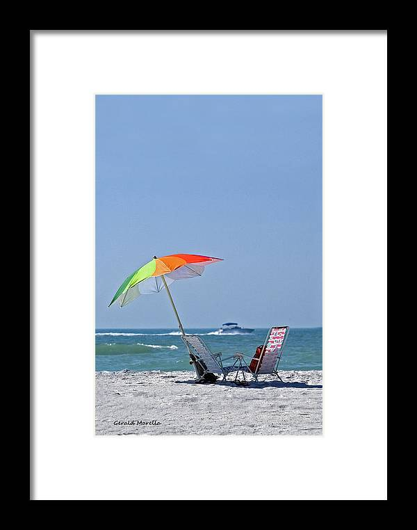 Umbrella Framed Print featuring the photograph Beach Chairs And Umbrella by Gerald Marella