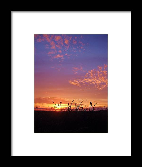 Beach Grass Gearhart Oregon Sunset Pacific Ocean Sand Dusk Purple Orange Clouds Photo Photograph Image Print Coast Surf Color Shadow Framed Print featuring the photograph Beach Grass At Gearhart by Scott Carda
