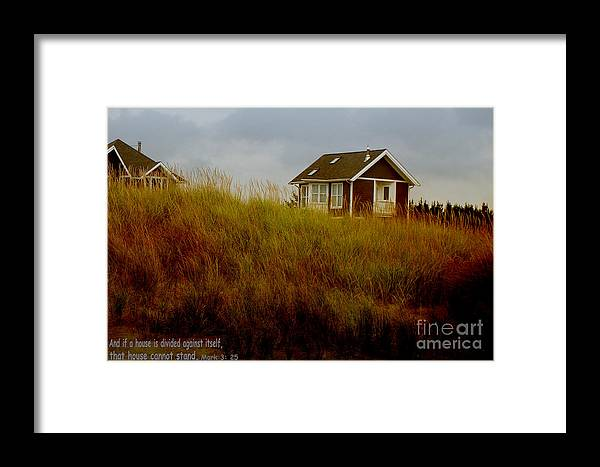 House Photograph Framed Print featuring the photograph Beach House W Scripture by Beverly Guilliams