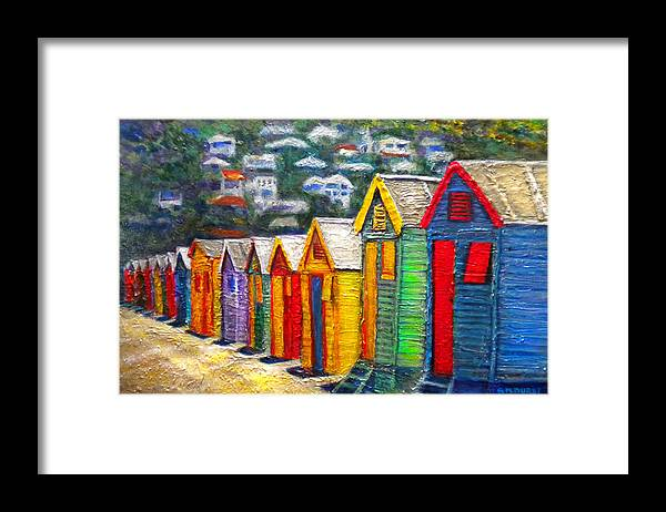 Beach Framed Print featuring the painting Beach Houses At Fish Hoek by Michael Durst