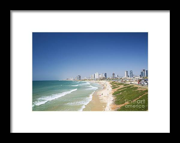Architecture Framed Print featuring the photograph Beach In Tel Aviv Israel by Jacek Malipan
