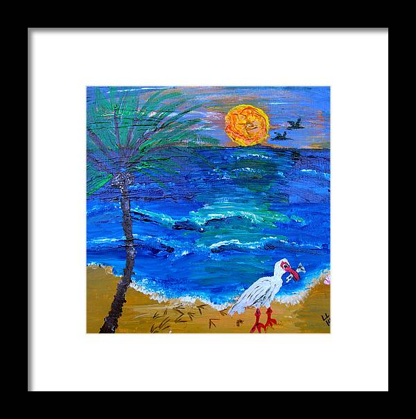 Beach Framed Print featuring the painting Beach Life by Laura Lawless