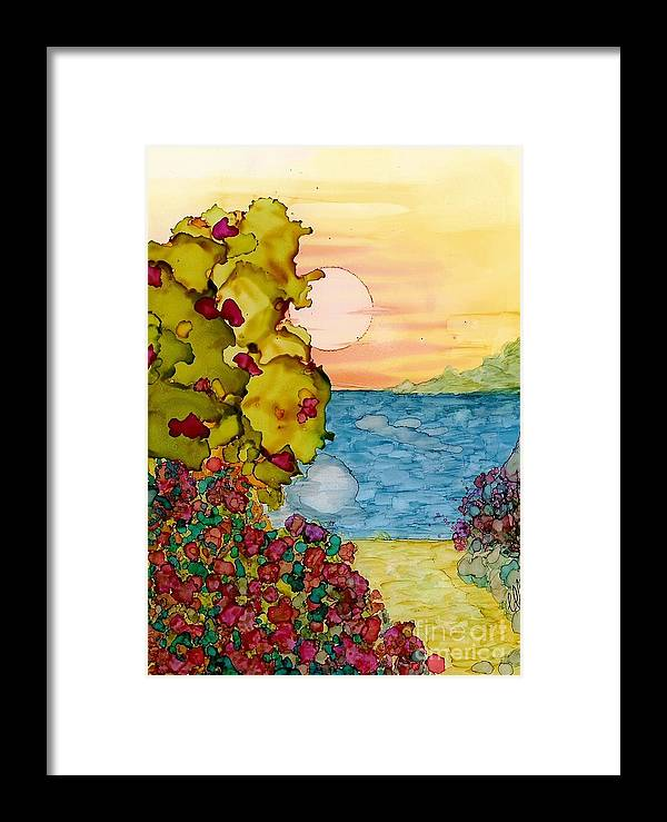 Alcohol Framed Print featuring the painting Beach Path by Constance Aring