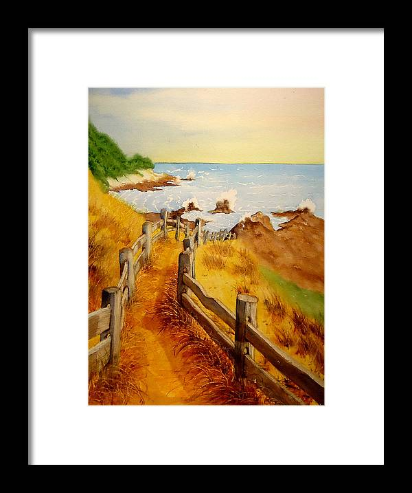 Weather Beaten Wood Fence Framed Print featuring the painting Beach Path by Sandra Stone