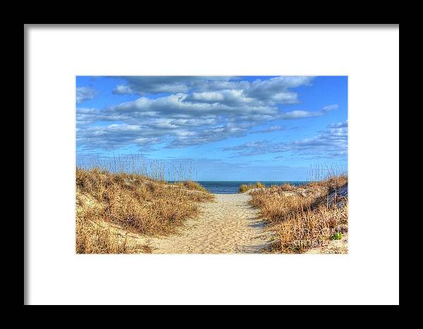 Beach Framed Print featuring the photograph Beach Pathway by Kathy Baccari
