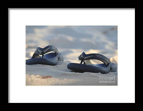 Ocean Framed Print featuring the photograph Beach Sandals 3 by Michelle Powell