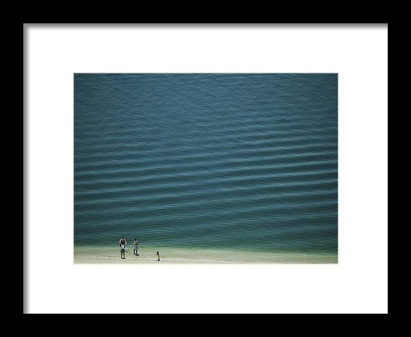 Digital Framed Print featuring the photograph Beach Scene - Four People On Beach by Andy Mars