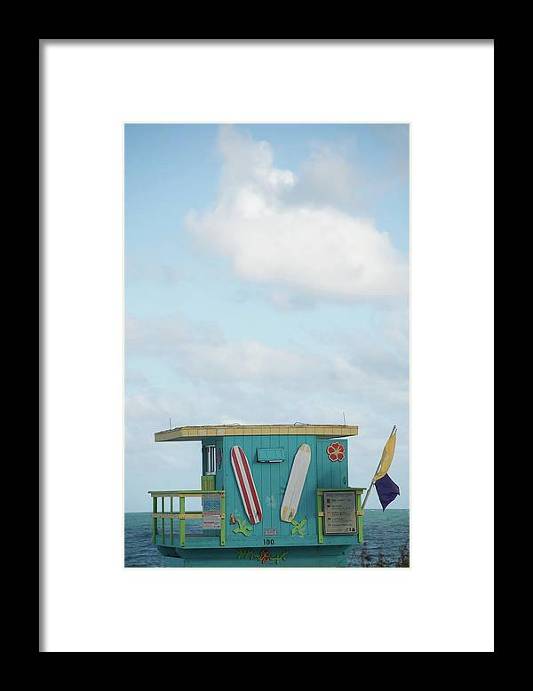 Security Framed Print featuring the photograph Beach Shack by Aaron Mccoy