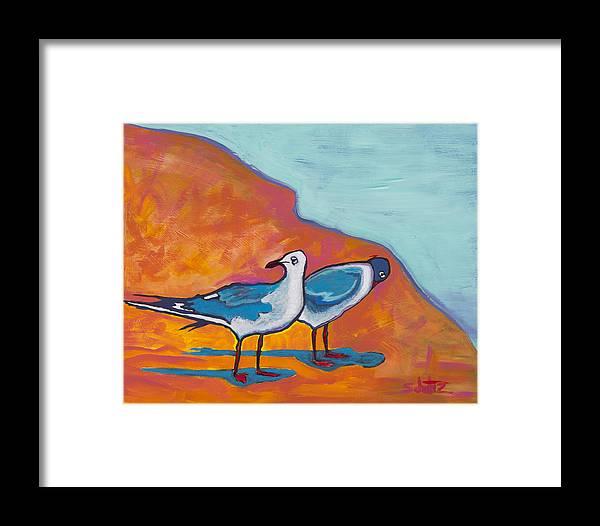 Birds Framed Print featuring the painting Beach Shadows by John Schultz