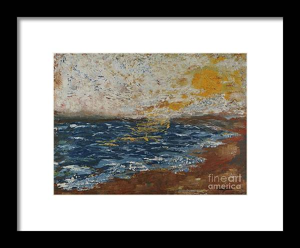 Impressionistic Beach Framed Print featuring the painting Beach Sunrise by Doreen Karales Zonts