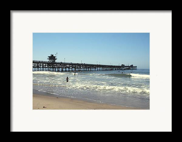 Orange County Framed Print featuring the photograph Beach View With Pier 2 by Ben and Raisa Gertsberg