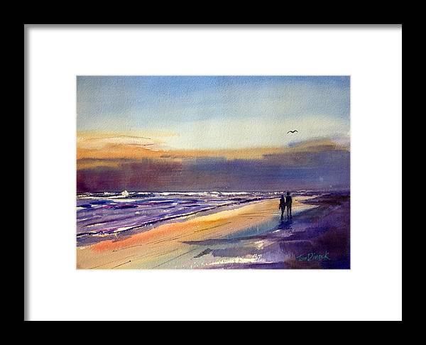 Couples Framed Print featuring the painting Beach Walk by Tom Dimock