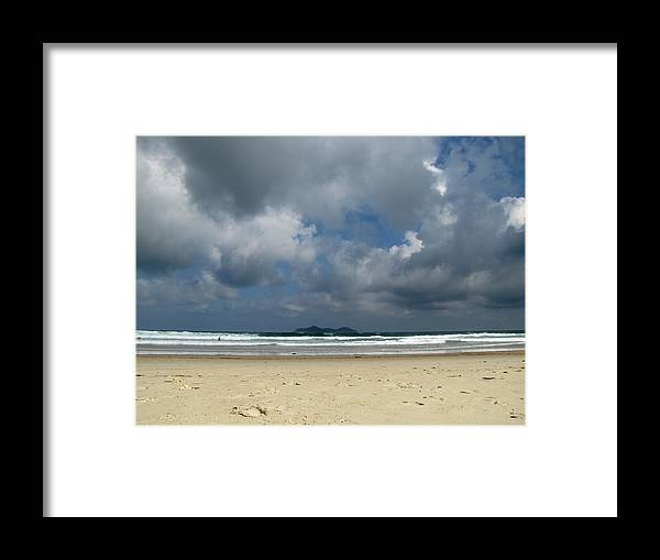Beach Framed Print featuring the photograph Beach With Gathering Storm by Elizabeth Hardie