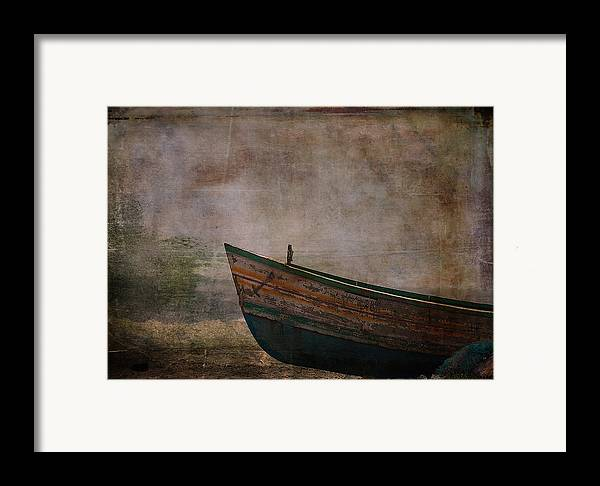 Dinghy Framed Print featuring the digital art Beached Dinghy by Sarah Vernon