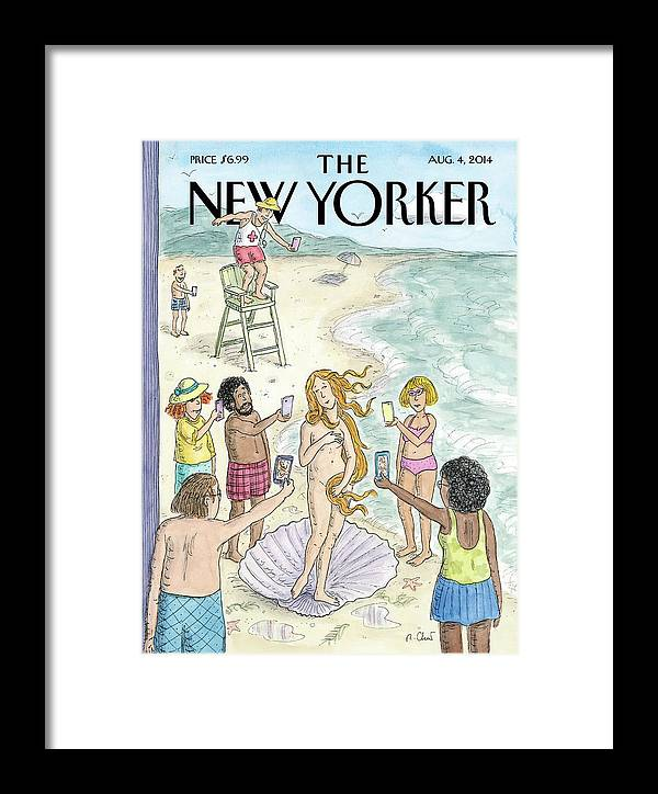 Beach Framed Print featuring the painting Venus On The Beach by Roz Chast