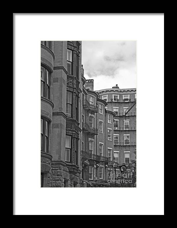 Buildings Framed Print featuring the photograph Beacon Hill In Black And White by Ruth H Curtis