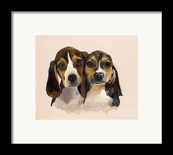 Dogs Framed Print featuring the painting Beagle Babies by Suzanne Schaefer