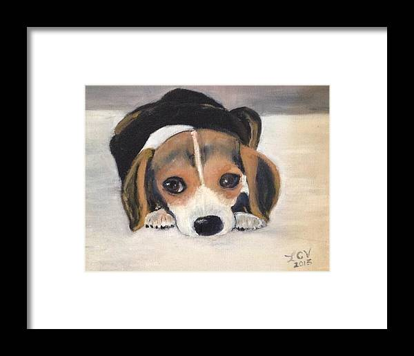 Beagle Rescue Framed Print featuring the painting Beagle Resting by Lucille Valentino