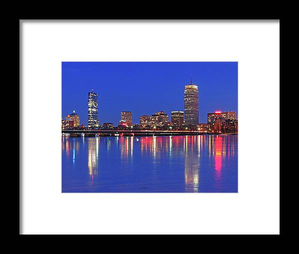 Boston Skyline Framed Print featuring the photograph Beantown City Lights by Juergen Roth